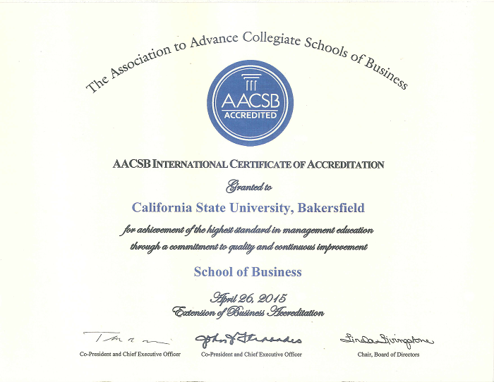 aacsb accredidation certificate